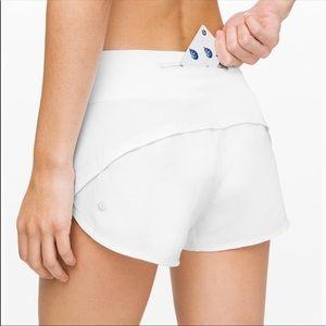Lulu Lemon White Speed Up Shorts